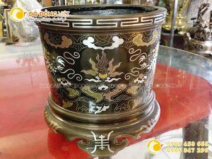 Bát hương đồng khảm ngũ sắc DK 30 cm
